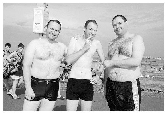 Niels, Thomas und Oke. Am Dockkoog 2006. Foto: Dehn